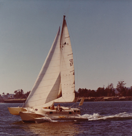 A Searunner 40 under sail